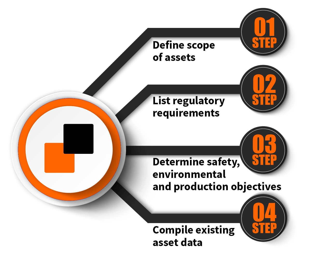 Program Scope. Step 1 - Define scope of assets. Step 2 - List regulatory requirements. Step 3 - Determine safety, environmental and production objectives. Step 4 - Compile existing asset data.